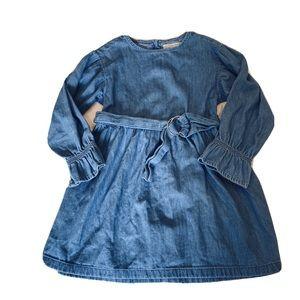 Zara Girls Dress Denim 10 Long Bell Sleeves Belted